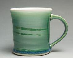 Handmade porcelain coffee mug or tea cup jade by BlueParrotPots, $22.00