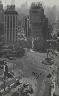 the columbus circle in new york city, 1930
