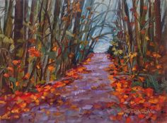 Art by Marcela Strasdas : Fall at Goldstream - - Oil on Canvas Pinturas Color Pastel, Daily Painters, Fine Art Gallery, Art For Sale, Oil On Canvas, My Arts, Pastel Paintings, Fall, Artist
