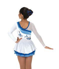 Jerry's Figure Skating Dress 171 - Snow Blossom (Blue/White)