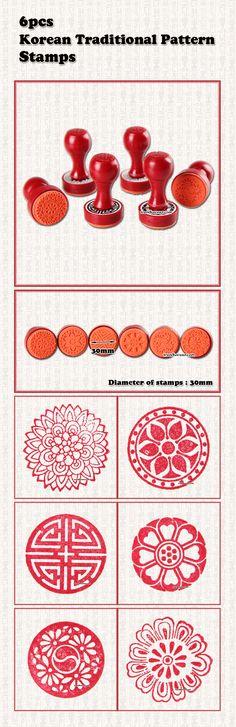 6pcs Korean Traditional Pattern Seal.