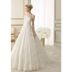 A line One Shoulder Lace Floor Length Chapel Train Wedding Dress With Buttons and other apparel, accessories and trends. Browse and shop 8 related looks.
