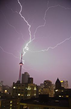 Downtown Toronto gets lit up by passing storm, May 2011