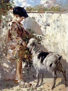 Boy With A Goat, Vincenzo Irolli, Italian
