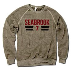 Brent Seabrook Officially Licensed NHLPA Chicago Men's Crew Sweatshirt S-2XL Seabrook Font