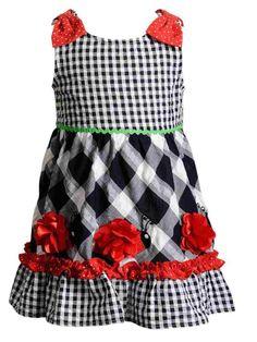 1f7c8e8e1 Infant Girls Red White & Blue Patriotic Party & Summer Ladybug  Flower Dress #