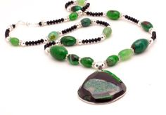 Green and Black Geode Druzy agate necklace this by MapletonDrive, $95.00