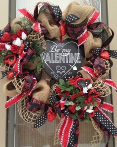 """BE MY VALENTINE"" -XL Burlap Deco Mesh Valentine's Day Wreath Decoration #Handmade"