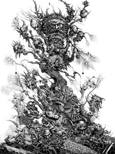 Chaos tree 1980's   Ink dip pen/crow nib -  rotting technical pen - paper.  This image was created for Games Workshop and featured in the vo...