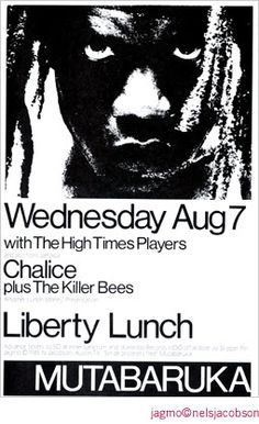 Mutabaruka @ Liberty Lunch  8/7/85