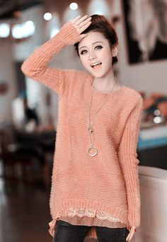 Spring and Autumn winter new female lace mohair sweater coat and long sections loose low round neck sweaters