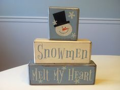 Snowman winter Christmas primitive wood blocks shelf sitter rustic country decor unique gift