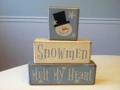 Snowman winter Christmas primitive wood blocks shelf sitter rustic country decor unique gift