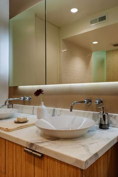 Floating mirror at vanity - modern - bathroom - san francisco - Michael Tauber Architecture