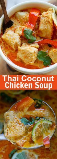 Creamy Thai Coconut Chicken Soup - easiest and fastest Thai coconut chicken recipe ever! Takes only 15 mins and dinner is ready   rasamalaysia.com