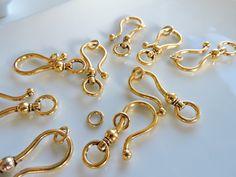 3 sets Huge Large gold plated Hook Eye Clasps by SilverCharmsShop