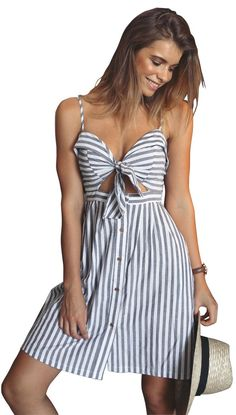 Ayliss women summer striped dress for daily wear.  Sling dress makes you more comfortable in the summer! The unique hollow design in front, make you more fashion.