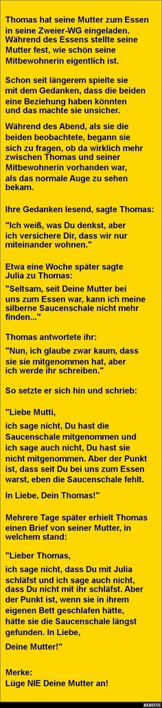 Thomas hat seine Mutter zum Essen eingeladen | DEBESTE.de, Lustige Bilder, Sprüche, Witze und Videos