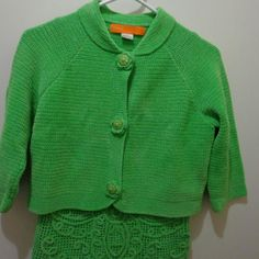 2 piece Cynthia Cynthia steffe size s/p Love this shade of green. Top is sleeveless and length is 21. Top is longer.  Super cute  Cardigan is button down with large chunky button. No pockets. Length 16.5 Cynthia Steffe Sweaters Cardigans