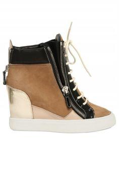 07fe9d499f1 Giuseppe Zanotti Suede and Leather Sneaker Wedge Sneaker Heels