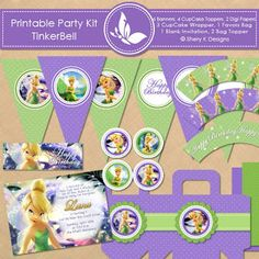 Free Printable Birthday Kit | TinkerBell   6 Banners,  8 CupCake Toppers,  3 CupCake Wrapper,  1 Favors Bag,   1 Blank Invitation,  2 Bag Topper,   2 Fonts,   2 Printable Digital Papers.