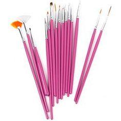 15 x Nagel Kunst Malerei Pen / Pinsel Set - Pink um €1.70 !!! WAHNSINN