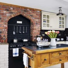 Range cooker and brick wall