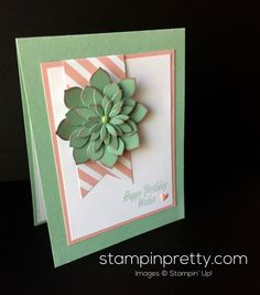Stampin Up Oh So Succulent Birthday card idea - Mary Fish stampinup