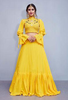 Indian Gowns Dresses, Indian Fashion Dresses, Dress Indian Style, Indian Designer Outfits, Designer Dresses, Party Wear Lehenga, Red Lehenga, Party Wear Dresses, Yellow Lehenga