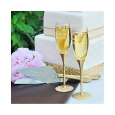Gold Parisian Romance Champagne Flutes and Cake Server Set