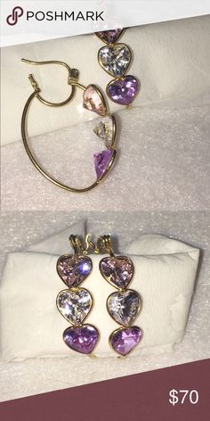 14 karat gold wire and crystal earrings 14 k gold wire earrings . Pierced hearts outlining 3 brilliant colored crystals. Gorgeous!!! Never worn. NWOT. Use offer button and let's talk... Jewelry Earrings