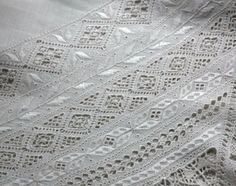 Superb Vintage Italian (or Lefkara) Linen and Lace Tablecloth, Cream White Linen Embroidered with Lavish Embroidery and Cutwork,