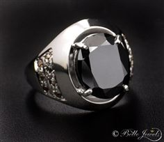 Designer 6.67ct Black Diamond Solitaire Ring For Men