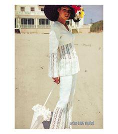 Vintage 1970s Crocheted Pants Suit See Through Blazer Jacket Crochet Pattern PDF. $7.00, via Etsy.