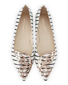 Webster Bibi Nautical-Stripe Butterfly Flat, Black/White Bibi Nautical-Stripe Butterfly Flat, Black/White by Sophia Webster at Neiman Marcus.Bibi Nautical-Stripe Butterfly Flat, Black/White by Sophia Webster at Neiman Marcus. Cute Flats, Cute Shoes, Me Too Shoes, Dream Shoes, Crazy Shoes, Pretty Shoes, Beautiful Shoes, Sophia Webster Shoes, Mocassins