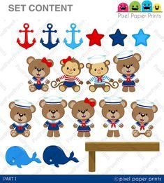 Baby Sailor Clip art and digital paper set por pixelpaperprints