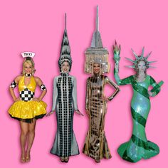 New York City Theme Characters-Living Empire State and Chrysler, and Miss Liberty, Taxi Girls, Liza, Andy Warhol, Joan Rivers, Donald Trump | Screaming Queens Drag Entertainment