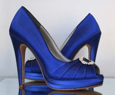 SALE Wedding Shoes -- Royal Blue Platform Wedding Shoes with Silver Rhinestone Oval - Choose Your Color on Etsy, $90.00