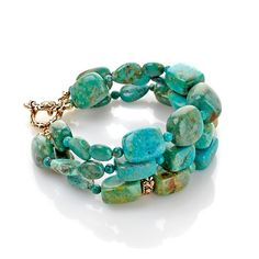Studio Barse 3-Row Turquoise Bronze Bracelet.....love this