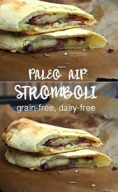 Can you believe these grain-free, dairy-free AIP-friendly & Paleo Stromboli actually have the taste & feel of a gooey, cheesy pizza pocket?