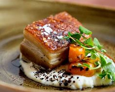 IDEA PIATTO-The crispy pork belly with Anson Mills grits at chef Michael Scelfo's Alden & Harlow Pork Recipes, Gourmet Recipes, Cooking Recipes, Gourmet Desserts, Gourmet Foods, Gourmet Food Plating, Chef Food, Sushi Recipes, Frozen Desserts