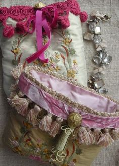 Embellished silk pouches