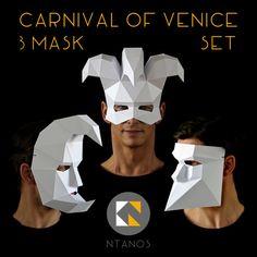 Carnival of Venice 3 Mask Set Bauta Crescent Moon Jester 3d Paper Crafts, Cardboard Crafts, Paper Toys, Venetian Carnival Masks, Carnival Of Venice, Painting For Kids, Art For Kids, Carnival Spirit, Low Poly Mask