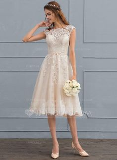 [US$ 164.19] A-Line/Princess Scoop Neck Knee-Length Tulle Lace Wedding Dress With Bow(s)