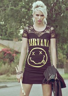 Nirvana shirt made into a dress with lace sleeves! Do something like this to one of my Tool shirts ASAP.
