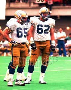 Nick Bastaja Richard Nemeth Winnipeg Blue Bombers 1985. Photo F. Scott Grant