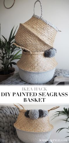 IKEA HACK | FLADIS SEAGRASS BASKET | Painted seagrass storage basket tutorial | Made Up Style