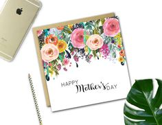 Mother's Day Card FLORAL DROP by LandTDesignCo on Etsy
