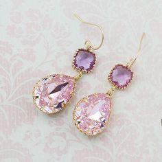 Rosaline Pink Swarovski Crystal GOLD FILLED Earrings Dangle Earrings... ($37) ❤ liked on Polyvore featuring jewelry, earrings, swarovski crystal earrings, pastel jewelry, swarovski crystal jewelry, pink swarovski crystal earrings and pink earrings