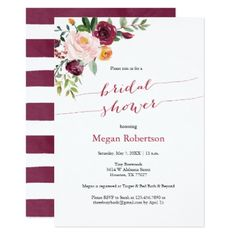 Burgundy Red Marsala Floral Bridal Shower Card - winter wedding diy marriage customize personalize couple idea individuel